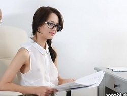 She Is Nerdy - Nerdy secretary Michelle Can DPed at work