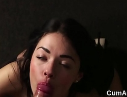 Nasty peach gets cum shot on her face swallowing all the jizm
