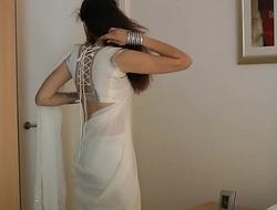 Indian College Girl Jasmine Mathur In White Indian Sari