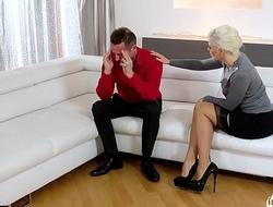 KINKY INLAWS - Squirting Ukrainian blonde stepmom fucks stepdaughter's boyfriend
