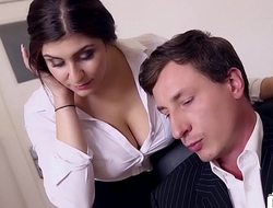 BUMS BUERO - Boss fucks busty German scrimshaw and cums on her big tits