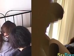 Japanese lesbian rubs vag
