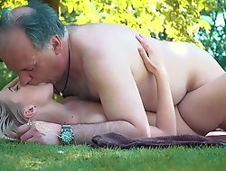 Petite legal age teenager fucked wits grand-dad more than a picnic this babe blows and swallows him