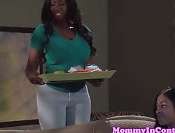 Busty ebony milf and teen duo team up on dick